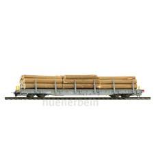 RhB-w 8218 ACTS-Tragwagen mit Holzladung BEMO